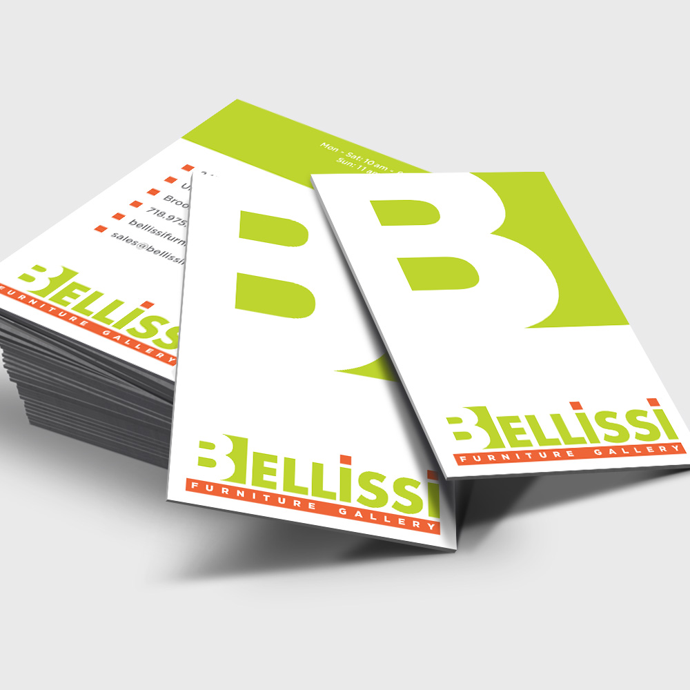 graphic design business card bellissi furniture gallery