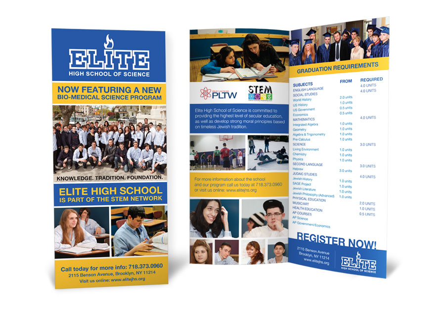 graphic design brochure elite high school of science
